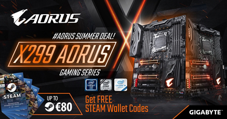 Buy the latest X299 AORUS motherboards and receive up to €80 Free Steam Wallet Codes !